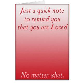 Un recordatorio rápido del amor (rojo) tarjeta de felicitación