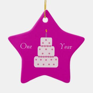 Un rosa del personalizable de la torta de adorno de cerámica en forma de estrella