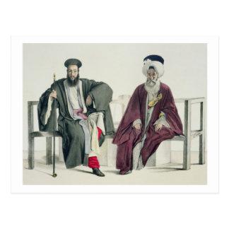 Un sacerdote griego y un turco, grabados por el postal
