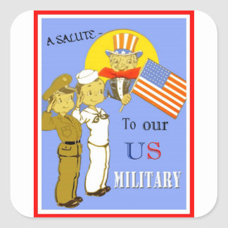 Un saludo a nuestros pegatinas de los militares de pegatina cuadrada