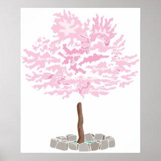 Un solo árbol de la flor de cerezo posters