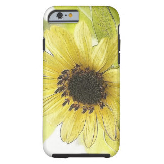 Un solo girasol amarillo limón funda para iPhone 6 tough