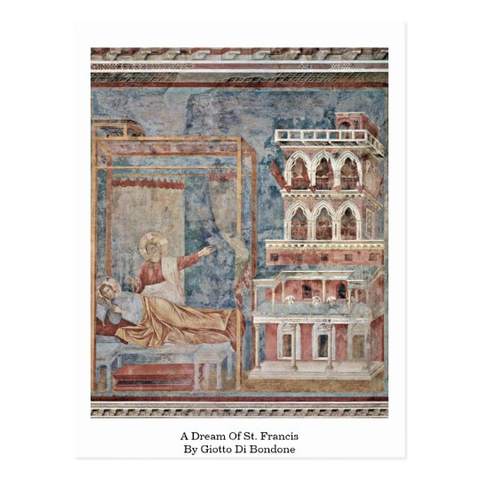Un sueño de St Francis de Giotto Di Bondone Postal