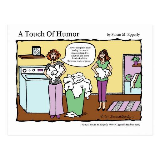 """""""Un tacto lavadero del masaje del humor"""" cómico Postales"""