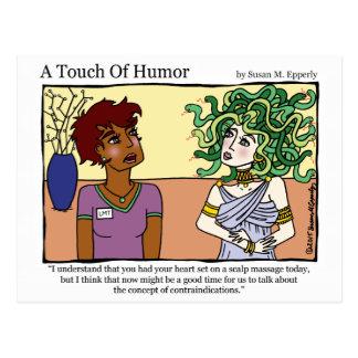 """""""Un tacto masaje de la medusa del humor"""" cómico Postal"""