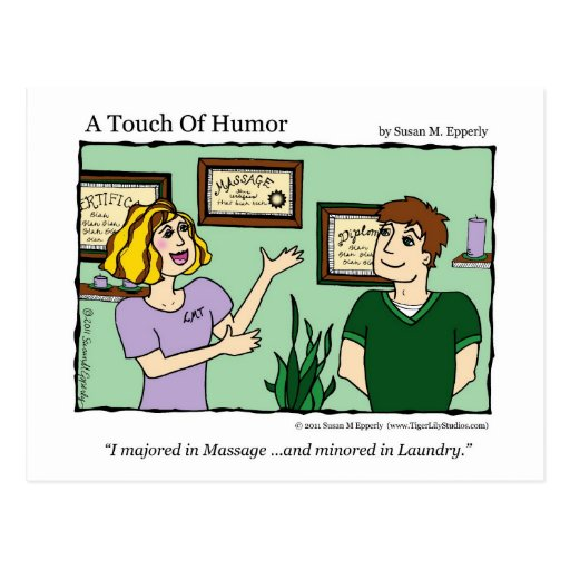 """""""Un tacto masaje del humor""""/taza cómica del lavade Tarjeta Postal"""