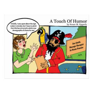 """""""Un tacto masaje del pirata del humor"""" cómico Postal"""