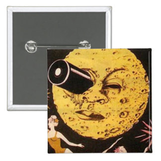 Un viaje al cartel de película de la luna chapa cuadrada 5 cm
