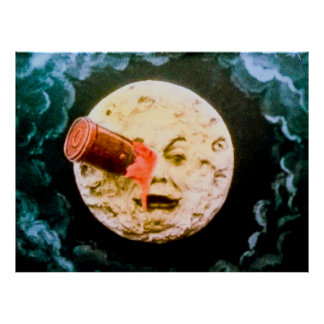 Un viaje al vintage de la luna póster
