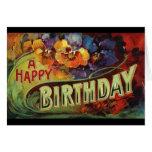 Un vintage del feliz cumpleaños pintado tarjetón