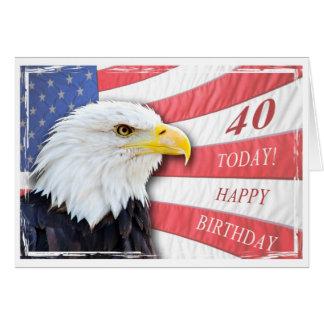 Una 40 a tarjeta de cumpleaños patriótica