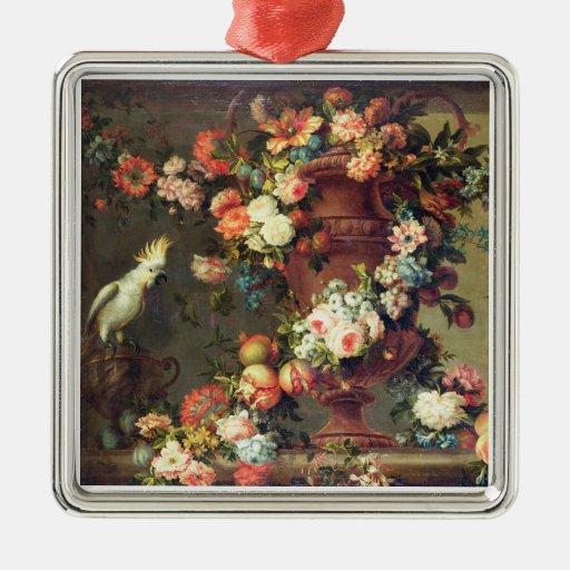Una abundancia de fruta y de flores ornamentos de navidad