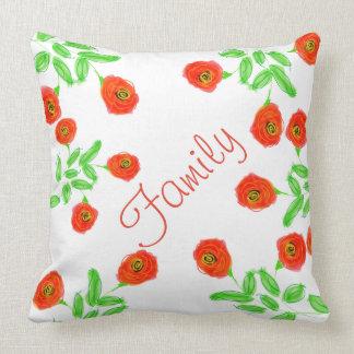 Una almohada impresa floral roja artística