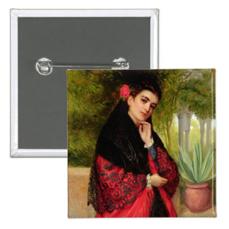 Una belleza española, 1872 (aceite en lona) chapa cuadrada 5 cm