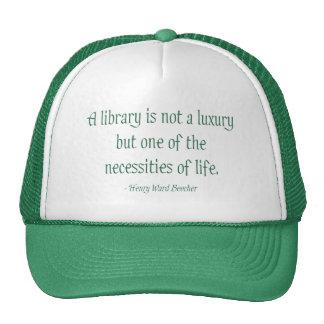 Una biblioteca no es un lujo gorro de camionero