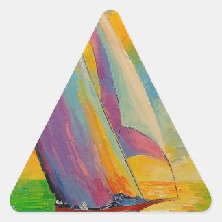 Una brisa fresca pegatina triangular