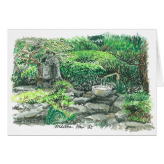 Una cascada de bambú tarjeta