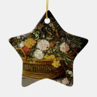 Una cesta de flores - Jan Brueghel el más joven Adorno De Cerámica