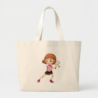Una chica joven que juega a tenis bolsas de mano