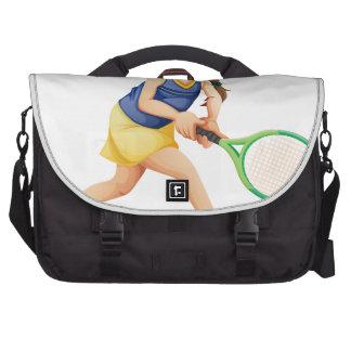 Una chica joven que juega a tenis bolsas para portátil