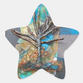 Una colina del árbol pegatina en forma de estrella