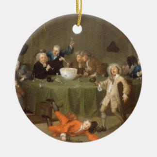 Una conversación moderna de medianoche, c.1732 (el adorno redondo de cerámica