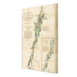 Una encuesta del lago Champlain Impresión En Lona Estirada
