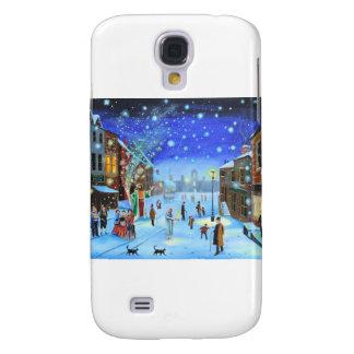 Una escena de la calle del invierno de Scrooge del Funda Para Samsung Galaxy S4