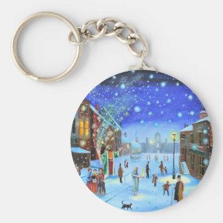 Una escena de la calle del invierno de Scrooge del Llavero