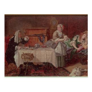 """Una escena de """"Tartuffe"""" por Moliere, 1850 Postal"""