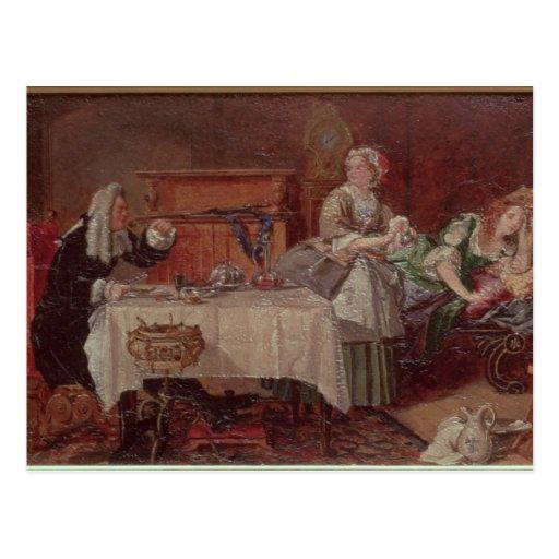 """Una escena de """"Tartuffe"""" por Moliere, 1850 Postales"""