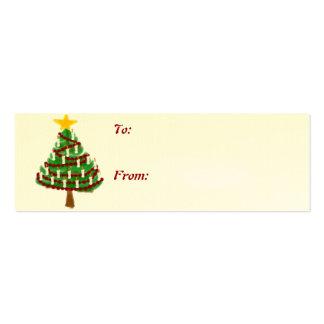 Una etiqueta del regalo del árbol de navidad del tarjetas de visita mini