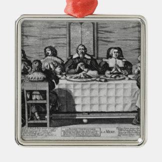 Una familia protestante que bendice la comida ornamento para arbol de navidad