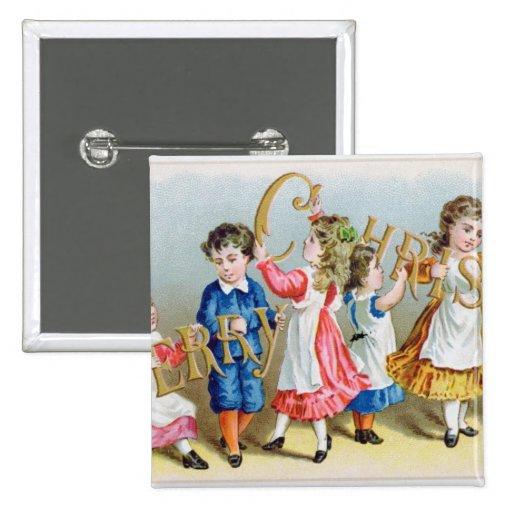 Una feliz postal del Victorian de Christmas', Pins
