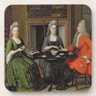 Una fiesta del té (aceite en lona) posavasos