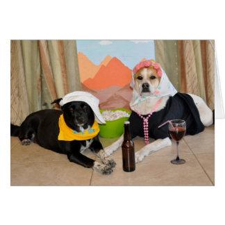 Una foto de 2 perros que presentan como par del tarjeta de felicitación