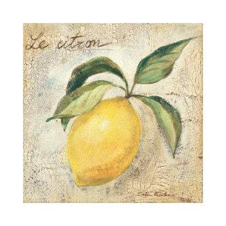 Una fruta amarilla del limón impresión en lona estirada