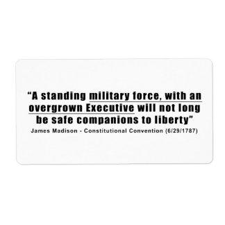 Una fuerza militar derecha un ejecutivo Overgrown Etiqueta De Envío