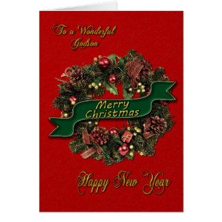 Una guirnalda festiva del navidad para su ahijado tarjeta de felicitación