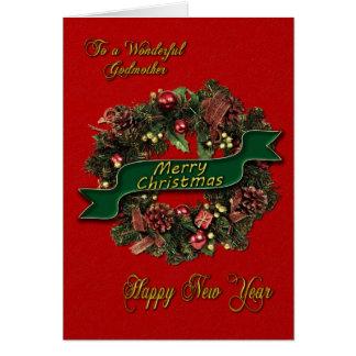 Una guirnalda festiva del navidad para su madrina tarjeta de felicitación