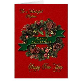 Una guirnalda festiva del navidad para su sobrino tarjeta de felicitación