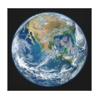 Una imagen de mármol azul de la tierra del planeta lienzo envuelto para galerias