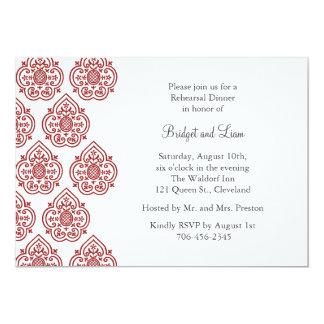 Una invitación de la cena del ensayo del damasco