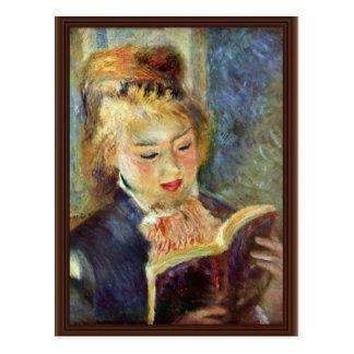 Una lectura del chica de Pierre-Auguste Renoir Postal