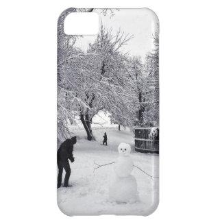 Una lucha de la bola de nieve en Central Park Funda iPhone 5C