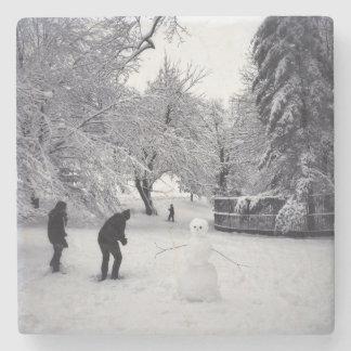 Una lucha de la bola de nieve en Central Park Posavasos De Piedra