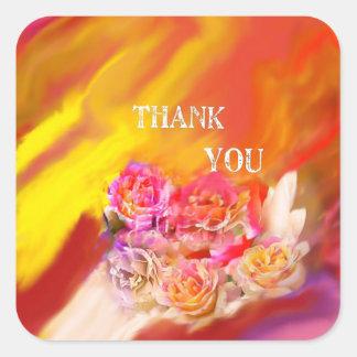 Una mano de gracias tiende por completo hacia pegatina cuadrada