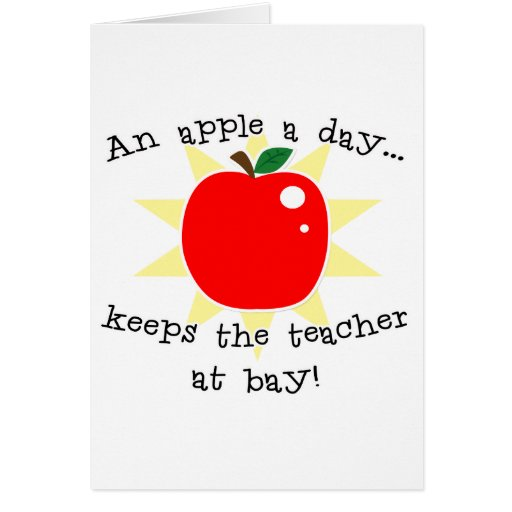 Una manzana al día guarda al profesor en la bahía tarjetón