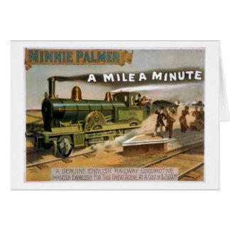 """Una milla"" un poster minucioso del tren del teatr Tarjeta De Felicitación"