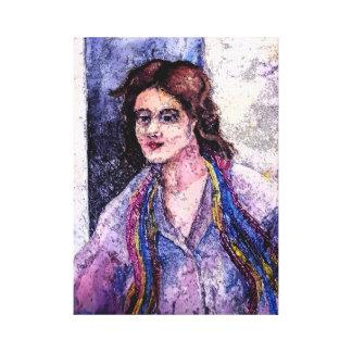 Una mujer con una bufanda por AnnaSofia Impresión En Lienzo